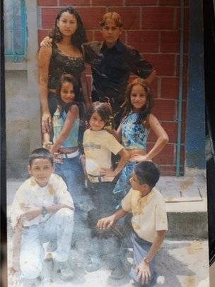 Yineth Trujillo (at back, left) spent five years as a child soldier with the Farc guerrilla