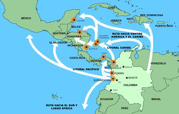 Drug trafficking routes from Colombia, using data from the Colombian Navy (FES report)