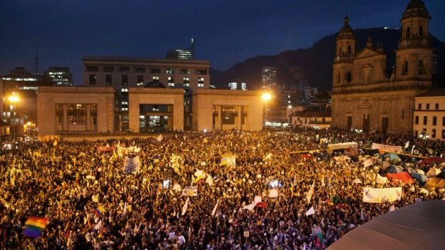 Thousands took part in the march in Bogota
